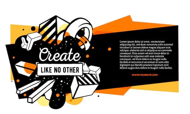 Ilustração em vetor de composição abstrata colorida com moldura amarela, preta, cabeçalho, texto em fundo branco. Vetor Premium