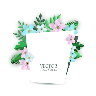 Ilustração em vetor de composição floral com flores claras e folhas verdes dentro parabéns gard.