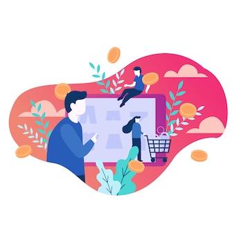 Ilustração em vetor de compras on-line