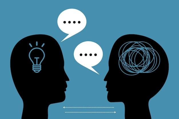 Ilustração em vetor de comunicação em psicoterapia conceito de psicoterapia com diálogo de cabeça humana