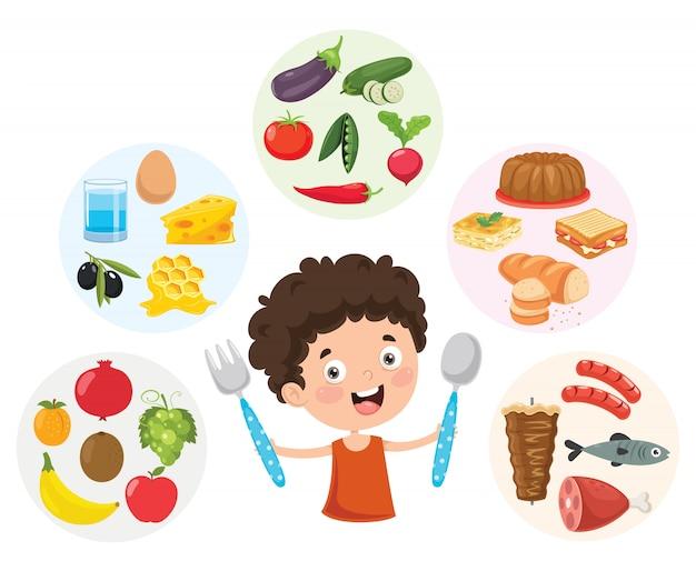 Ilustração em vetor de conceito de comida de crianças