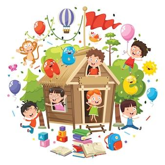 Ilustração em vetor de conceito de educação de crianças