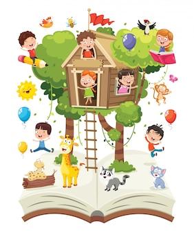 Ilustração em vetor de conceito de natureza de crianças