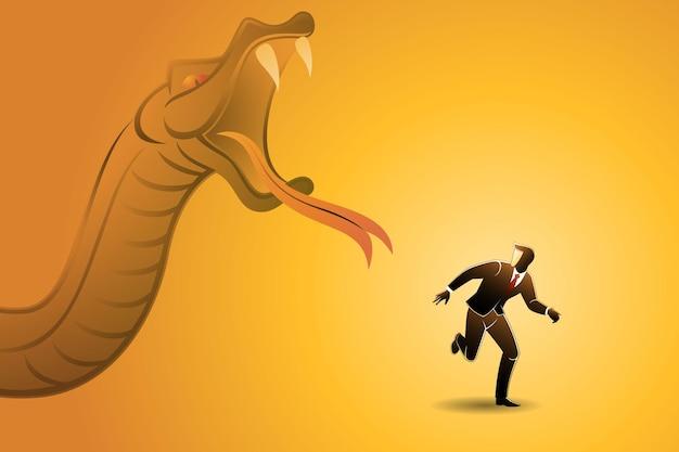 Ilustração em vetor de conceito de negócio, cobra grande perseguindo empresário