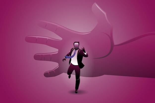 Ilustração em vetor de conceito de negócio, empresário executado perseguido por uma grande mão
