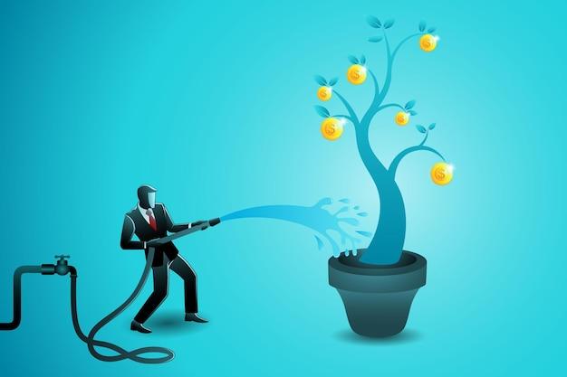 Ilustração em vetor de conceito de negócio, empresário molhando árvore de moedas de ouro com mangueira de água