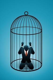 Ilustração em vetor de conceito de negócio, empresário na gaiola de pássaro