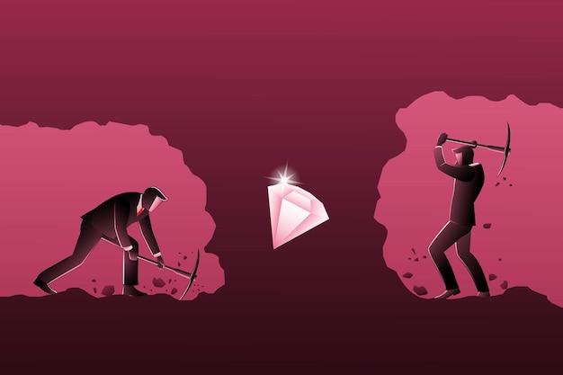 Ilustração em vetor de conceito de negócio, empresários competem cavar por diamantes no subsolo