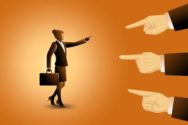 Ilustração em vetor de conceito de negócio, uma mulher de negócios sendo apontada por três dedos gigantes, mãos apontando para culpar uma mulher de negócios