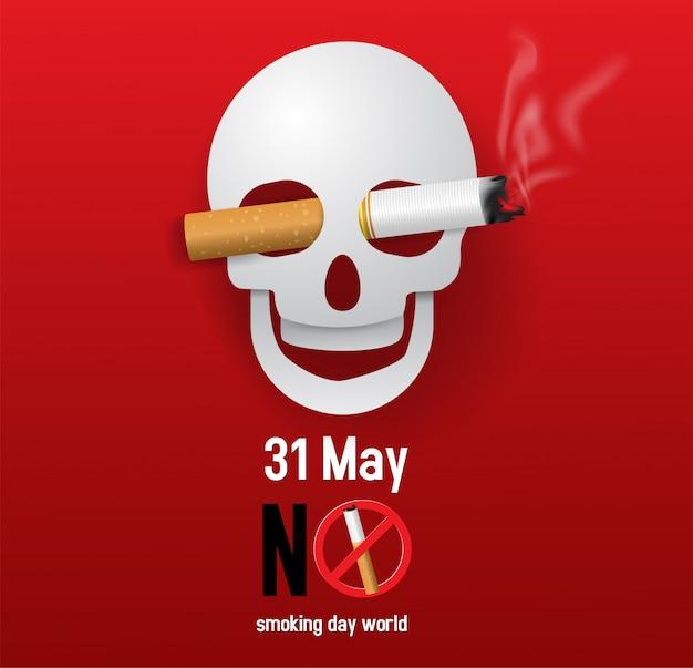 Ilustração em vetor de conceito não fumar mundo dia