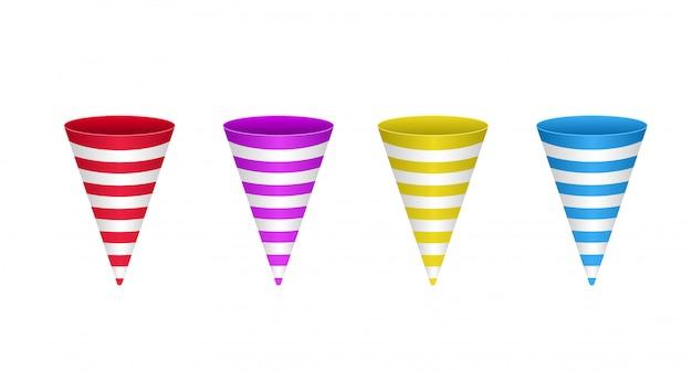 Ilustração em vetor de cones lindos coloridos