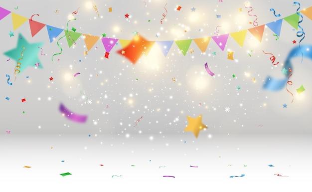 Ilustração em vetor de confete caindo em um fundo transparente