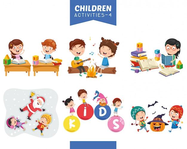 Ilustração em vetor de conjunto de atividades de crianças