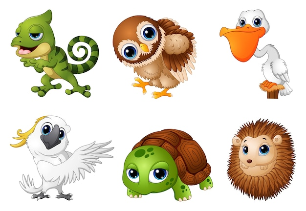 Ilustração em vetor de conjunto de desenhos de animais selvagens