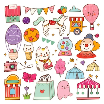 Ilustração em vetor de conjunto de doodle de kawaii circus show