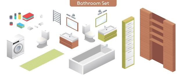 Ilustração em vetor de conjunto de mobiliário de interior moderno de banheiro. canalizações para quarto de banho. vista isométrica da banheira, máquina de lavar, vaso sanitário, espelhos, prateleiras, toalhas, objetos isolados de decoração para casa