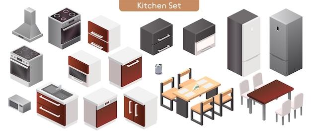 Ilustração em vetor de conjunto de mobiliário de interior moderno de cozinha. vista isométrica do fogão, exaustor, armários, pia, micro-ondas, chaleira elétrica, mesas de jantar, cadeiras, objetos isolados da geladeira
