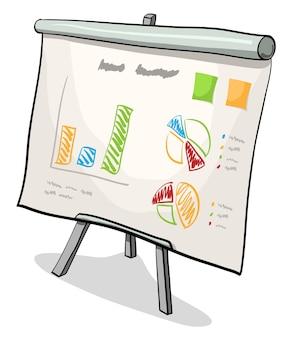 Ilustração em vetor de conselho financeiro com gráfico de apresentação