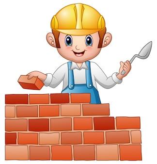 Ilustração em vetor de construtor de homem dos desenhos animados