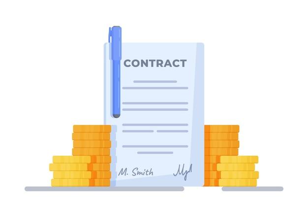 Ilustração em vetor de contrato comercial desenho em fundo branco