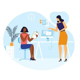 Ilustração em vetor de conversa de colegas do sexo feminino