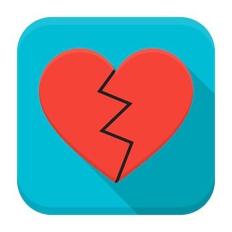 Ilustração em vetor de coração partido. ícone quadrado do app plana com sombra longa.