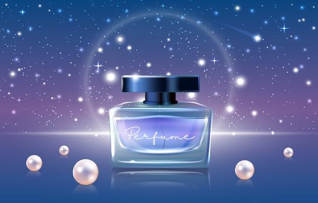 Ilustração em vetor de cosméticos de perfume azul, anúncios realistas de perfume de luxo em 3d projetam promoção com maquete de frasco de frasco de vidro, céu noturno e pérolas