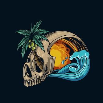 Ilustração em vetor de crânio de verão