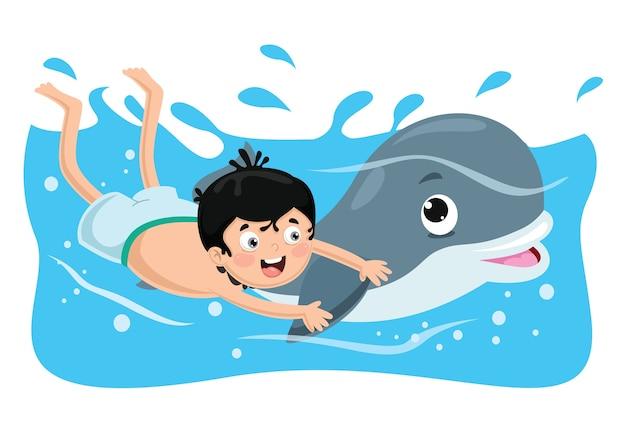 Ilustração em vetor de criança nadando com golfinho