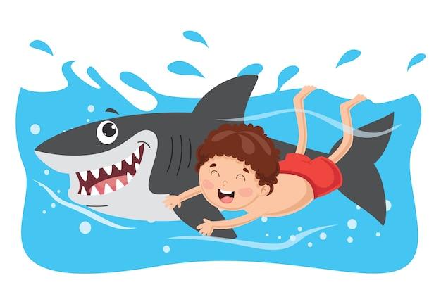 Ilustração em vetor de criança nadando com tubarão