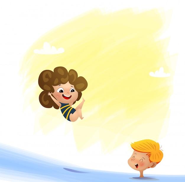 Ilustração em vetor de criança nadando