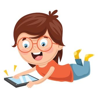 Ilustração em vetor de criança usando dispositivo móvel