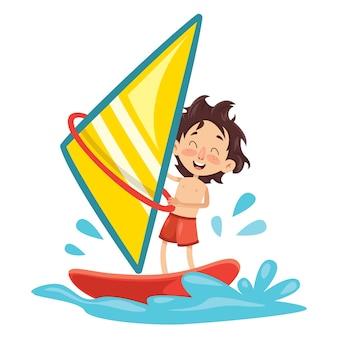 Ilustração em vetor de criança windsurf