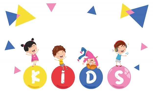 Ilustração em vetor de crianças abstrato
