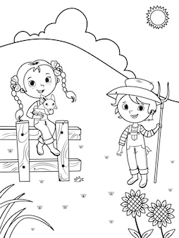 Ilustração em vetor de crianças agricultoras para colorir