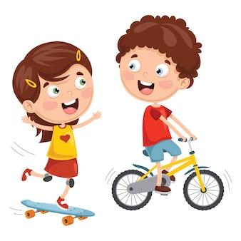 Ilustração em vetor de crianças andando de skate e andar de bicicleta