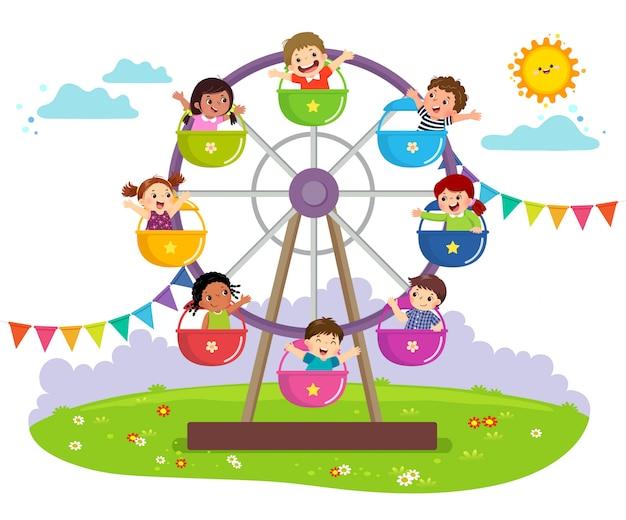 Ilustração em vetor de crianças andando na roda gigante em um parque de diversões.