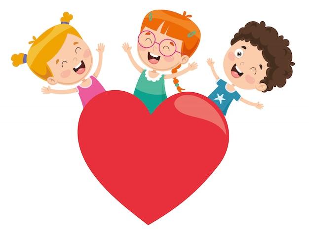 Ilustração em vetor de crianças brincando ao redor de um coração