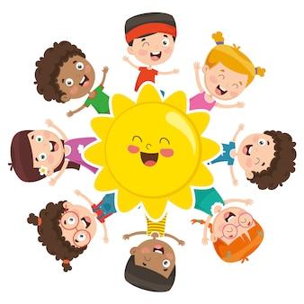 Ilustração em vetor de crianças brincando ao redor do sol