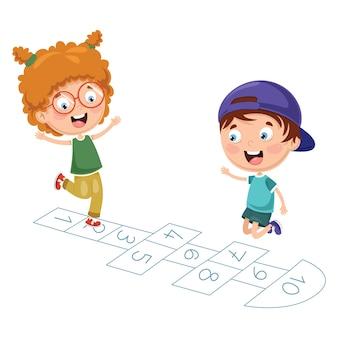 Ilustração em vetor de crianças brincando de amarelinha