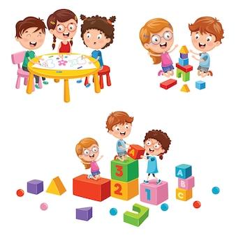 Ilustração em vetor de crianças brincando de escola