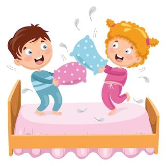 Ilustração em vetor de crianças brincando de luta de travesseiro