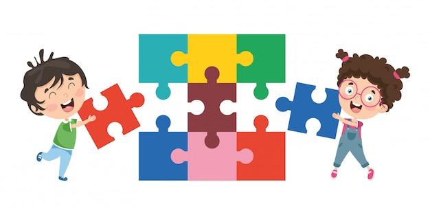 Ilustração em vetor de crianças brincando de quebra-cabeça