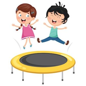 Ilustração em vetor de crianças brincando de trampolim
