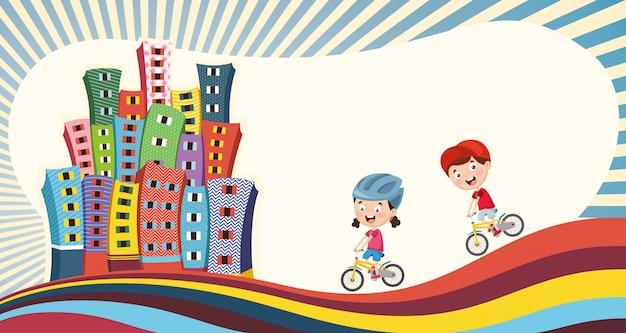 Ilustração em vetor de crianças brincando na cidade