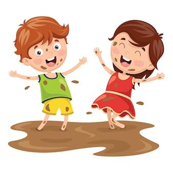 Ilustração em vetor de crianças brincando na lama