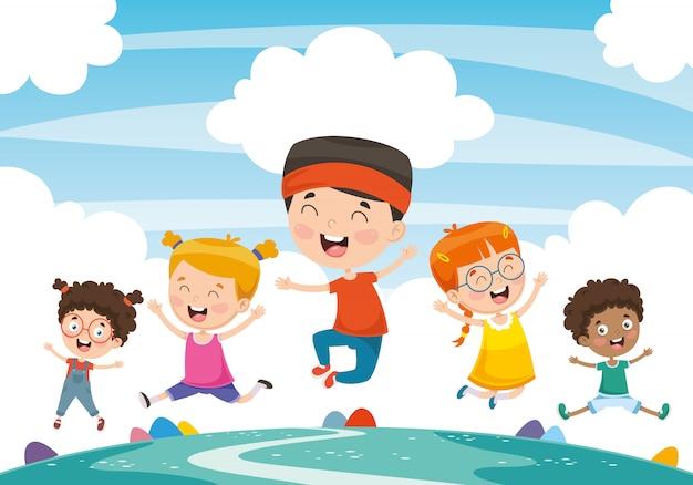 Ilustração em vetor de crianças brincando