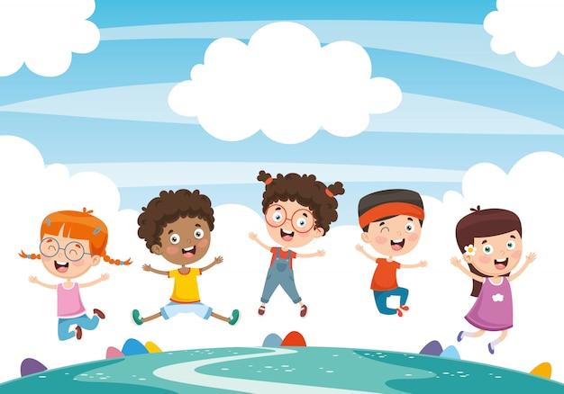 Ilustração em vetor de crianças brincando Vetor Premium