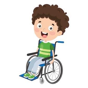 Ilustração em vetor de crianças com deficiência