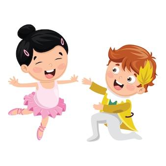 Ilustração em vetor de crianças dançando